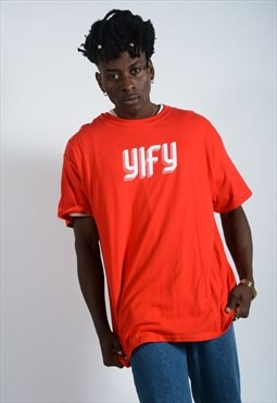 YIFY t-shirt in red with geometric logo.