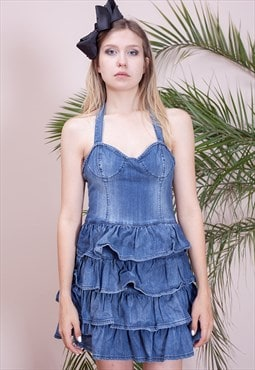 Adorable, Madonna style, denim frilly dress from the 90s