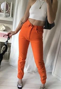 Vintage 90s High Waisted Neon Orange Slim Skinny Jeans