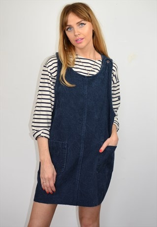 VINTAGE 90S NAVY CORDOROY PINAFORE MINI DRESS