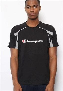 Vintage Champion Logo T-Shirt Black