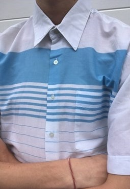 Mens Vintage 80s Shirt blue white stripy short sleeve top