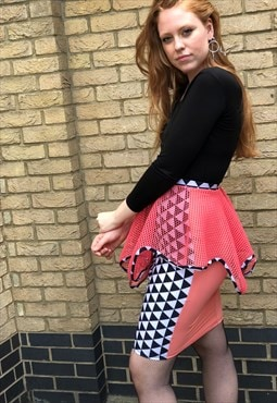 90s  Rave Stretch Peplum Skirt
