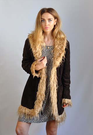 VINTAGE 90S BROWN FAUX SUEDE & FUR TRIM COAT