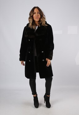 Faux Fur Coat Jacket Short Knee Vintage UK 14 (J7P)