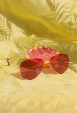 Pink Tint Aviator Sunglasses