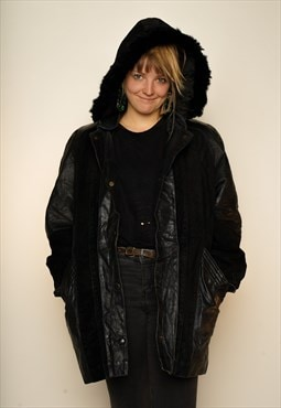 Black Leather and Suede Coat M