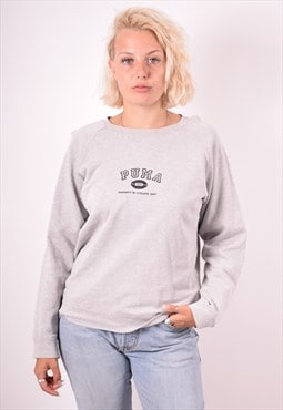 Puma Womens Vintage Sweatshirt Jumper Small Grey 90s
