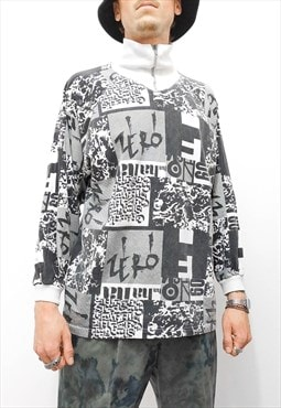 Vintage oversize abstract printed graphic thin sweatshirt