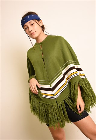 VINTAGE 90'S RETRO STRIPED KNIT FRINGED CAPE PONCHO