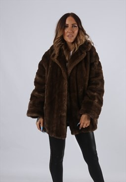 Vintage Faux Fur Coat Jacket Short UK 14 - 16 L / XL (J2B)