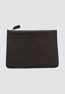'Fran' Genuine Leather Make-up Bag - Black