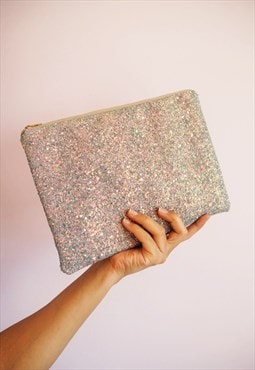 Glitter Clutch Bag in Grey & Rose Gold