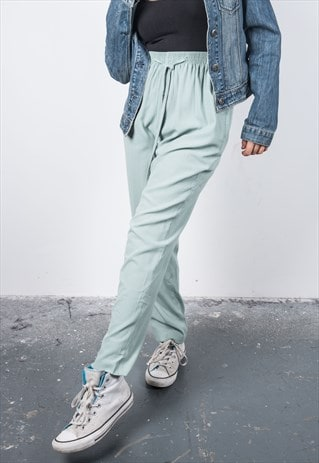 VINTAGE 1990S MINT GREEN HIGH-WAISTED TROUSERS
