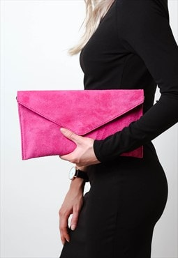 Fushia Pink Suede Envelope Clutch Bag