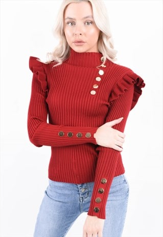 RED RIBBED FRILL TRIM BUTTON DETAIL TOP