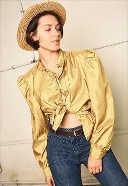 80's retro Paris chic shimmer puff sleeve blouse top