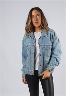 Vintage Denim Jacket Oversized Fitted UK 14 Large  (O1Q)