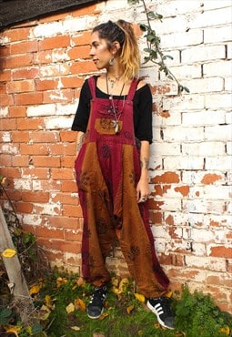 Fairtrade Orange & Burgundy Block Print Overalls Dungarees