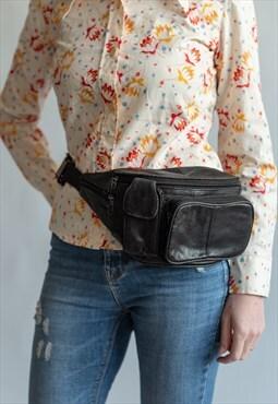 Vintage 80s' leather unisex bum bag