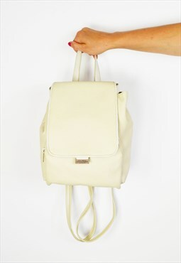 Cream Leather BackPack Bag