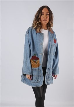 Denim Jacket Embroidered Oversized Longline Long UK 16 (LKCW