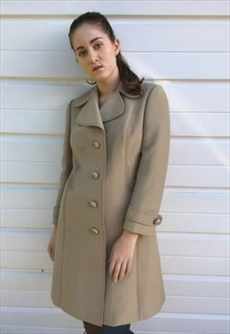 Womens Vintage 60s 70s coat beige midi length mac trench