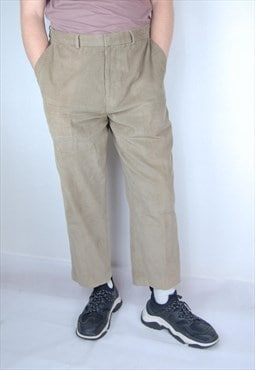 Vintage classic light cream straight corduroy trousers