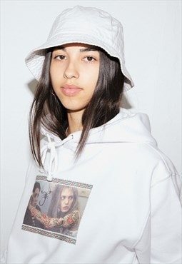 Hoodie in White with Tattooed Picture Frame Print