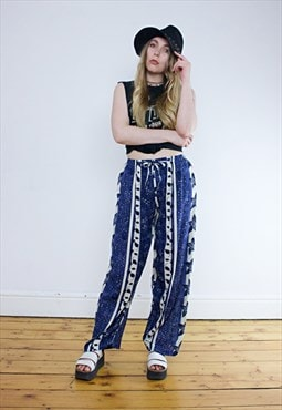 Vintage 90's Loose Blue Floral Striped Hippie Trousers