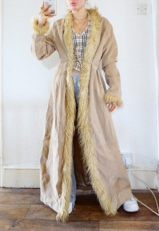Vintage 90s 80s Suede Leather Afghan Coat / Jacket Maxi long