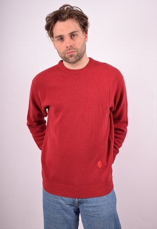 TRUSSARDI MENS VINTAGE JUMPER SWEATER LARGE RED 90S