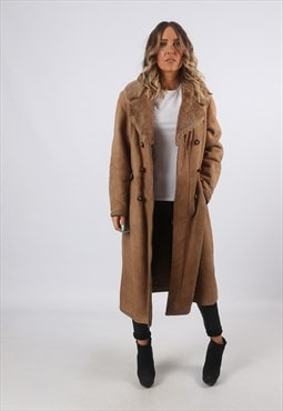Sheepskin Suede Long Coat Shearling UK 12 Medium (A8BB)
