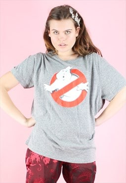Vintage 90s T-Shirt Ghostbusters Y2K Grey Movie