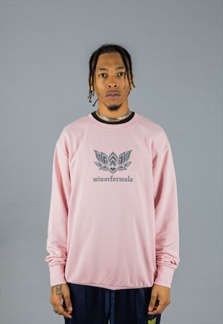 LIGHT PINK ORGANIC SWEATER WITH NU ENGLAND EMBROIDERY