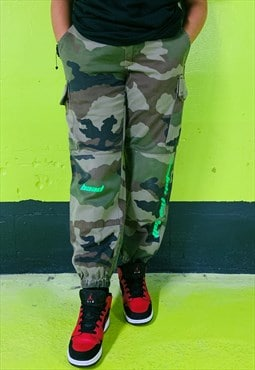 Baad vintage cargo  camo ( Trousers reworked WTF Neongreen )