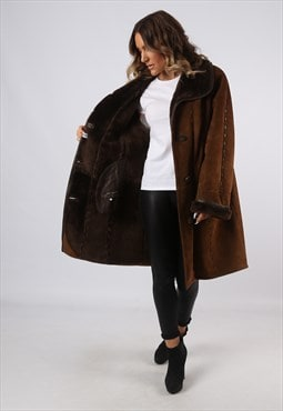Sheepskin Suede Leather Shearling Coat UK 18 (A9BQ)