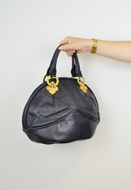 Vintage Braccialini Leather Navy Shopper Gold Loopholes