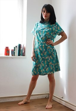 Vintage Turquoise Feather Print Dress