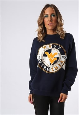 Sweatshirt Jumper Oversized WEST VIRGINIA Logo UK 14 (ED3M)
