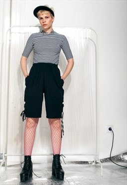Lace-up shorts - 90s vintage black trousers