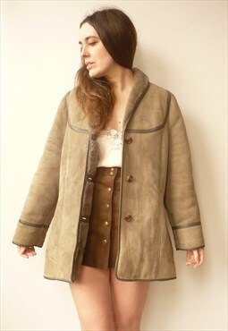 1970's Vintage Sheepskin Shearling Jacket Coat Size S/M
