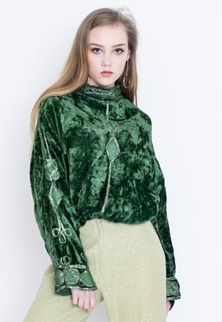 VINTAGE GREEN VELVET RETRO LONG CAPE