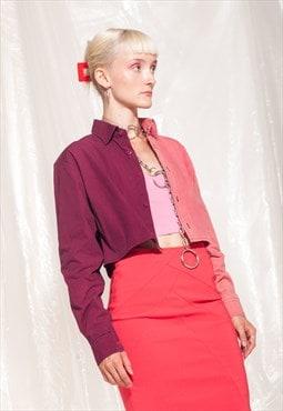 Vintage crop shirt Y2K reworked half bleach pink cotton top