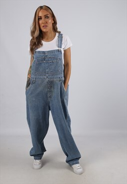 Vintage Denim Dungarees Wide Tapered UK 18 XXL (B3J)