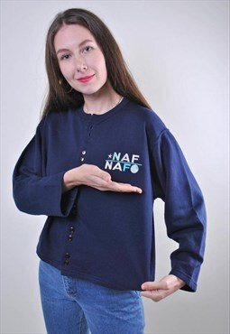 90s Naf Naf blue women cropped cardigan button sweatshirt