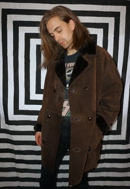Vintage 70's Lined Brown Suede Coat