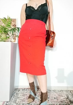 Vintage 80's minimalist smart casual red midi pencil skirt