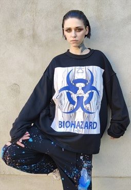 oversized raw finish bio hazard raver utility sweatshirt
