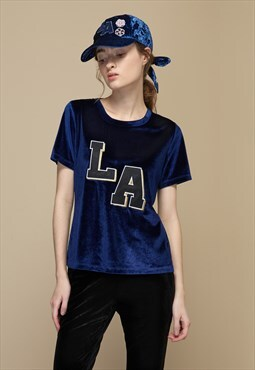 Varsity Graphic Velvet Top